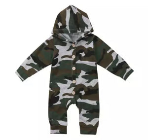 Camo Hooded Long Sleeved Onesie
