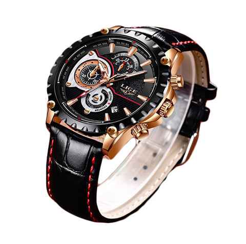 Black LIGE  leather Luxury Watch
