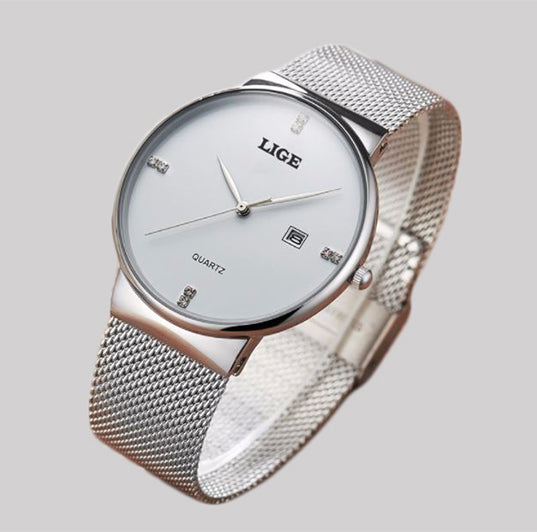 Silver LIGE stainless steel watch