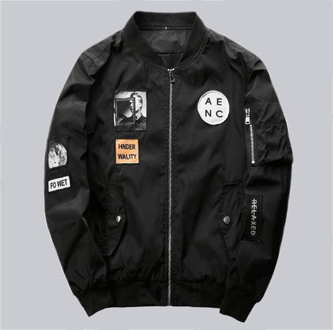 Black Bomber Jacket Hip Hop Patch Designs
