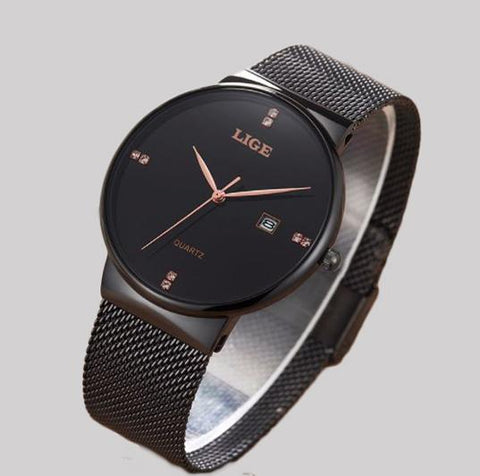 Black LIGE  Stainless Steel Watch
