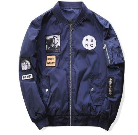 Blue Bomber Jacket Hip Hop Patch Designs