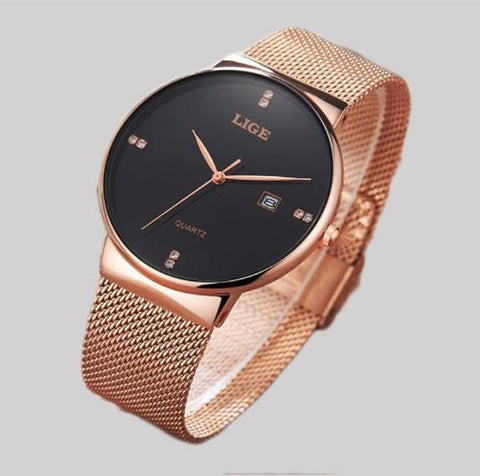 Gold LIGE  Stainless Steel Watch