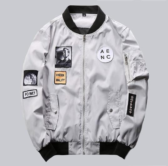 Gray Bomber Jacket Hip Hop Patch Designs Slim Fit