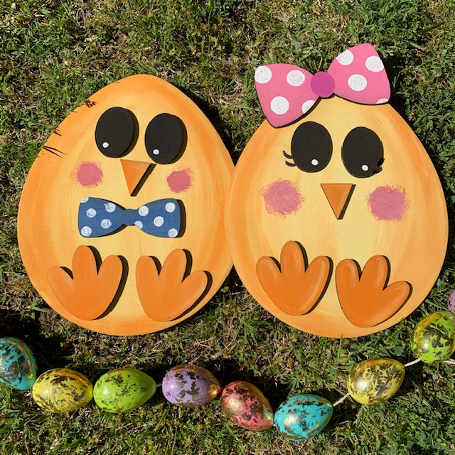 Unfinished Easter Egg/Chick Decor 12in