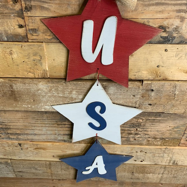 Wood Cutout 1/8 in 3 Star Door Hanger - Home Decor