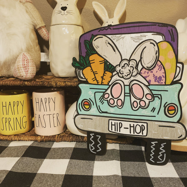 Unfinished Easter Truck with Bunny