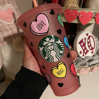 Starbucks Convo Heart Cold Cup Wrap 24oz