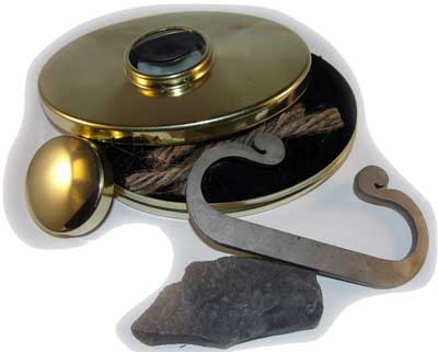 Fire Lighting Kit with Brass Hudson Bay Tobacco Box (C Striker)