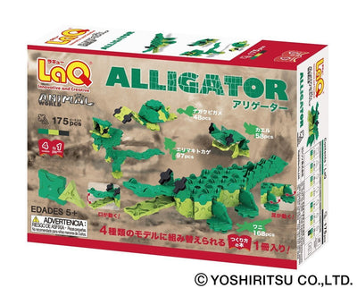 Back cover of LaQ product Animal World Alligator