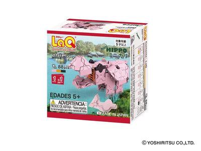 Back cover of LaQ product Animal World MINI HIPPO - 1 Model, 88 Pieces