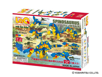 Back cover of LaQ product Dinosaur World SPINOSAURUS - 7 Models, 175 Pieces