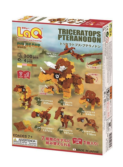 Back cover of LaQ product Dinosaur World Triceratops & Pteranodon