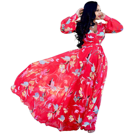 www.Petalsfashionz.com Quick shipping low prices women's Maxi Dresses & Sundresses Sexy Long Sleeve Floral Long Dress Deep V Neck Print Maxi Cocktail Dress