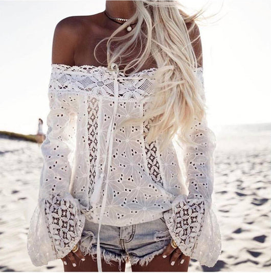 New Fashion Boho Women Sexy Lace Off Shoulder Shirts Casual Solid Lace Top Tees Long Sleeve Blouse Tops HOT
