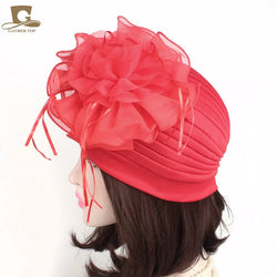 www.Petalsfashionz.com Quick shipping low prices women's Scarves And Hats Women ruffle turban Headwear with big poplin flower Cocktail Wedding Tea Party Hat Indian Turban Hats