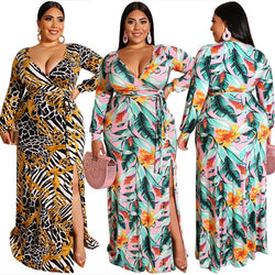 www.Petalsfashionz.com Quick shipping low prices women's Maxi Dresses & Sundresses Autumn Women's Fashion Printed Dress Lacing Tight-fitting Bag Hips Deep V-neck Long Sleeve Hem Split-fork Sexy Dress Plus Size