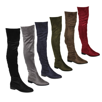 www.Petalsfashionz.com Quick shipping low prices women's Heel & Boots Shoes Apparel Stretchy Snug Fit Over Knee High Pull On Block Low Heel Boot
