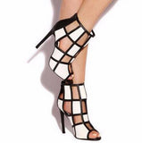 www.Petalsfashionz.com Quick shipping low prices women's shoes  Open Toe White-black Grid Design High Heel Sandals Cut-out Patchwork Gladiator Sandals Dress Shoes