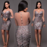 New Fashion Women See Through Mesh Sequins Bodycon Dress Sexy Long Sleeve Zipper Short Party Club Dresses