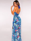 www.Petalsfashionz.com Quick shipping low prices women's Maxi Dresses & Sundresses dress bohemian printed chiffon high split summer dress 3XL beach vestido halter holiday maxi dresses Plus Size