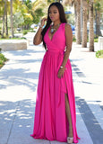 www.Petalsfashionz.com Quick shipping low prices women's Maxi Dresses & Sundresses  V Neck Sleeveless Maxi Dresses White Green Split Chiffon Long Dress Rose Red