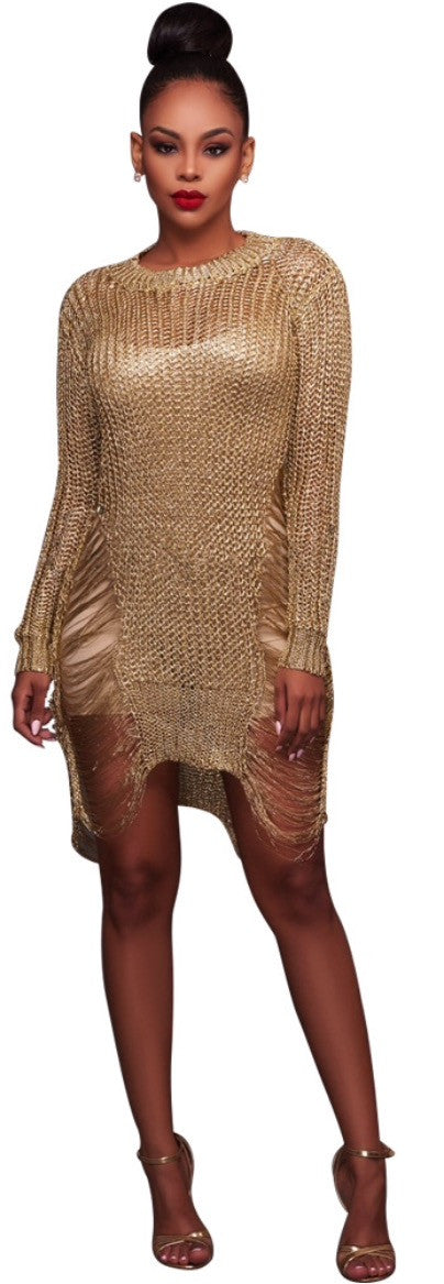 🌸2017 Latest Sexy Women Dashiki Party Club Gold Hollow Wool  Rest Travel  Dress Mini Hollow Out O Neck Office Elegant  Dress
