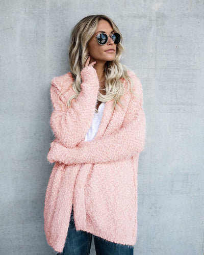 www.Petalsfashionz.com Quick shipping low prices women's Cardigans Long Sleeve Fur Cardigan Loose Sweater Outwear Jacket Pink
