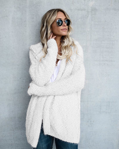 www.Petalsfashionz.com Quick shipping low prices women's Cardigans Long Sleeve Fur Cardigan Loose Sweater Outwear Jacket White