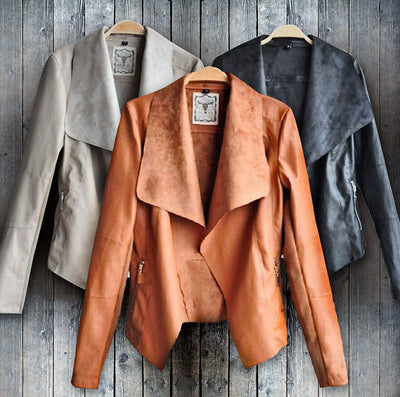 www.Petalsfashionz.com Quick shipping low prices women's Jacket's Leather Jacket Motorcycle Biker Slim Fit Zipper Blazer Coat Black/Brown/Beige