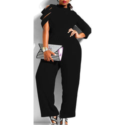 www.Petalsfashionz.com Quick shipping low prices women's plus size Rompers & Jumpsuits apparel Womens  Romper  Long Sleeve Jumpsuit Trousers Plus Size Prop Black