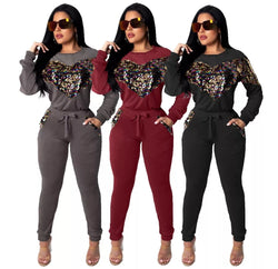 www.Petalsfashionz.com Quick shipping low prices women's plus size  Rompers & Jumpsuits apparel pullover top and drawstring pants two pieces women sets big heart sequined elastic velvet fashion women suit
