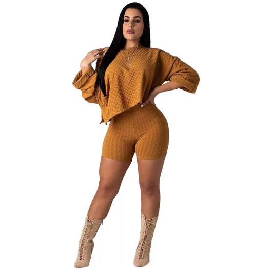 www.Petalsfashionz.com Quick shipping low prices women's rompers & jumpsuits. Knited Two Piece Playsuits Women One Shoulder Long Sleeve Crop Top+Bodycon Shorts Casual Spring Autumn Bodysuit 2 Pcs