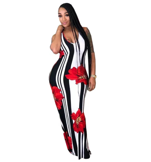 www.Petalsfashionz.com Quick shipping low prices women's Maxi Dresses & Sundresses Summer Maxi Dresses Floral Striped Print Back Cross Lady