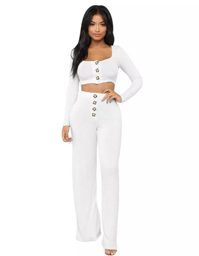 www.Petalsfashionz.com Quick shipping low prices women's rompers & jumpsuits Sexy Style 2 Piece Set Solid O-Neck Full Sleeve Out Slim Set White