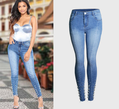 www.Petalsfashionz.com Quick shipping low prices women's Sexy Jean's & Classic Pants Beading Blue Jeans S-3XL Plus Size Women Skinny Denim Pencil Pants