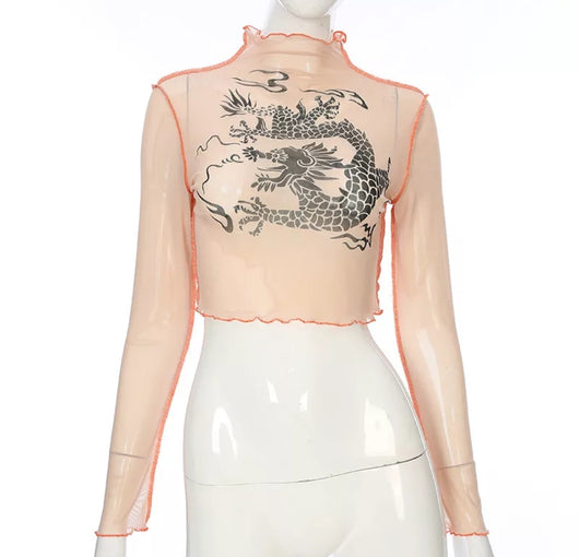 www.Petalsfashionz.com Quick shipping low prices women's Blouses & Unique Tops Mesh Crop Top Long Sleeve Kawaii Dragon Graphic Tees