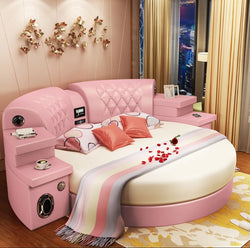 www.Petalsfashionz.com Quick shipping low prices Unique Custom Bedroom Furniture  New Round Bed Double Bed  2.2 Wedding Bed Pink