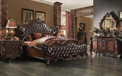 www.Petalsfashionz.com Quick shipping low prices Unique Custom Bedroom Furniture   CRESCENT - 5pcs Traditional Brown Bedroom Set w/ King Tufted Leatherette Bed NEW