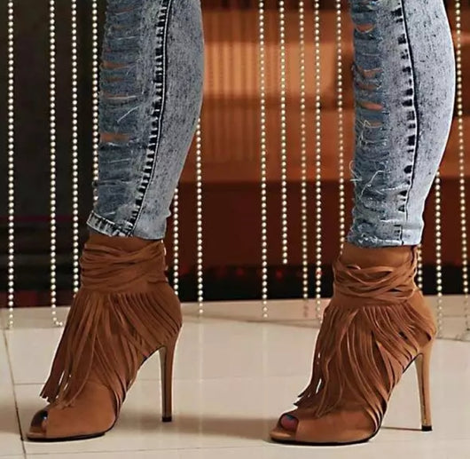 www.Petalsfashionz.com Quick shipping low prices women's Heel & Boots Shoes Apparel Brown, Tan And Black Suede Leather Ladies Sexy Peep Toe Fringe Boots Autumn Hot High Heel Boots Women Stiletto Boots Party Boots Boots*****Expedited shipping available contact us via email or Facebook Messenger PetalsFashionz@gmail.com