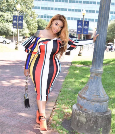 www.Petalsfashionz.com Quick shipping low prices women's Maxi Dresses & Sundresses Slash Neck Sexy Women Dress Spring Double Ruffle Long Sleeve Skinny Robe Contrast Color Vertical Striped Mid-Calf