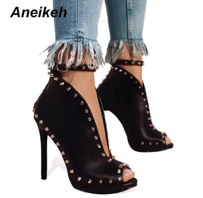 www.Petalsfashionz.com Quick shipping low prices women's Heel & Boots Shoes Apparel Autumn Women Shoes Peep Toe Pumps High Heels Women's Shoes Ankle Boots Rivets Buckle Motorcycle Women's Pumps Aneikeh