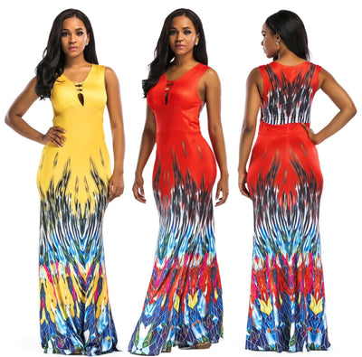 www.Petalsfashionz.com Quick shipping low prices women's Maxi Dresses & Sundresses Summer Ethnic Tropical Floral Print Bodycon Sexy Sleeveless Sundress Sexy Party Mermaid Beach Dress