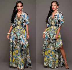 www.Petalsfashionz.com Quick shipping low prices women's Maxi Dresses & Sundresses Summer Boho Long Maxi Party V-Neck Short Sleeve Beach Dress Evening Woman Floral Dresses