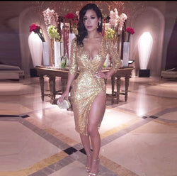 www.Petalsfashionz.com Quick shipping low prices women's Evening dresses and wrap dresses Gold Sequin Dress Bandage long sleeve v-neck side split Sexy Dress Sequined Women Bodycon Club Dress