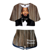 Petalsfashionz Nipsey Hussle Print Summer Sexy Two Pieces Sets Women Shorts Set