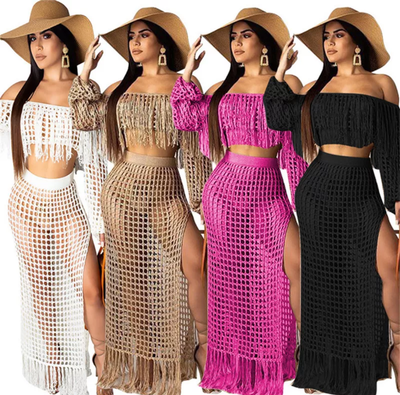 www.Petalsfashionz.com Quick shipping low prices women's swimsuit & poolside attire Summer Beach Dress Boho Off Shoulder Maxi Dress Long Sleeve High Split Hollow Out Mesh Tassel