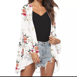 www.Petalsfashionz.com Quick shipping low prices women's Blouses & Unique Classy Stylus Apparel Blouses Floral Print Beach Chiffon Loose Shawl Kimono Cardigan Top