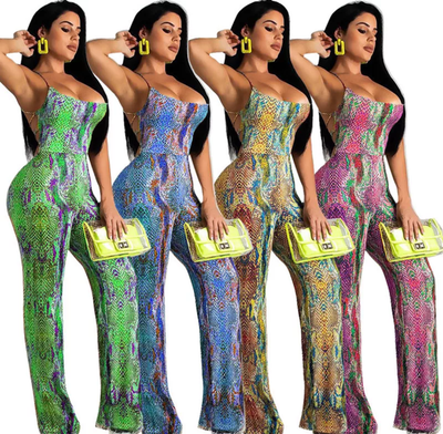 www.Petalsfashionz.com Quick shipping low prices women's rompers & jumpsuits. Snake Skin Print Sexy Summer Jumpsuit With Spaghetti Strap Backless Hollow Out Bandage Jumpsuit Romper