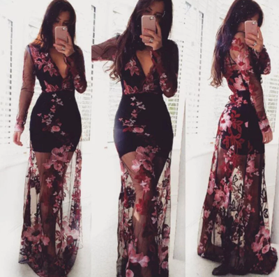 www.Petalsfashionz.com Quick shipping low prices women's Maxi Dresses & Sundresses Sexy See-Through Gauze Dress Women Floral Bohemian Maxi Dresses
